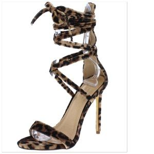 Shoes - 🆕Leopard Open Toe Strappy Ankle Wrap Tieup Sandal